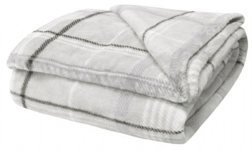 TARTAN CHECK LUXURY FLEECE SOFT WARM THICK PLUSH BLANKET GREY COLOUR 130CM X 180CM